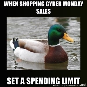 good advice duck - When shopping cyber monday sales SET A SPENDING LIMIT