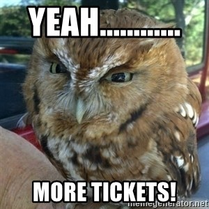 Overly Angry Owl - Yeah............ more tickets!