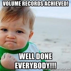 fist pump baby - Volume records achieved!                                                                                                                                                          Well done everybody!!!