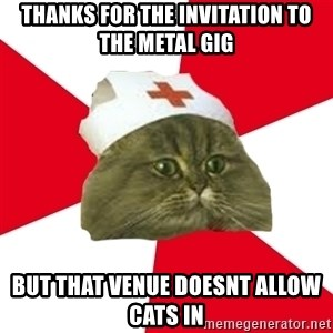 Nursing Student Cat - thanks for the invitation to the metal gig but that venue doesnt allow cats in
