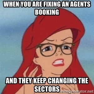 Hipster Ariel- - when you are fixing an agents booking and they keep changing the sectors