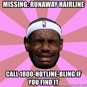 LeBron James - Missing: Runaway Hairline Call 1800-Hotline-Bling if you find it