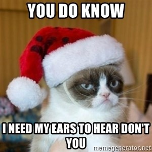 Grumpy Cat Santa Hat - you do know i need my ears to hear don't you