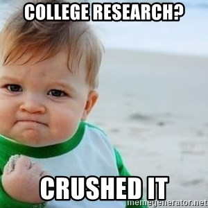 fist pump baby - COLLEGE RESEARCH? CRUSHED IT