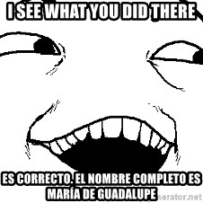 I see what you did there - I see what you did there Es correcto. el nombre completo es María de Guadalupe