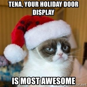 Grumpy Cat Santa Hat - Tena, Your Holiday Door Display Is Most Awesome