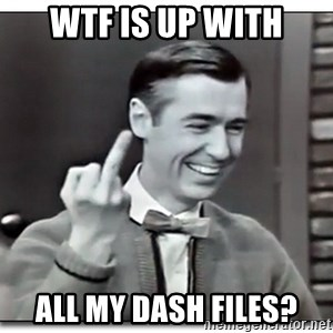 Mr Rogers gives the finger - wtf is up with all my dash files?