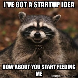 evil raccoon - I've got a startup idea How about you start feeding me
