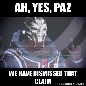 Ah, Yes, Reapers - Ah, yes, paz We have dismissed that claim