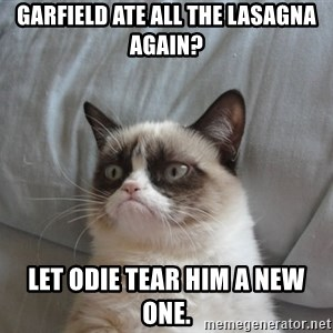 Grumpy cat good - Garfield ate all the lasagna again? Let Odie tear him a new one.