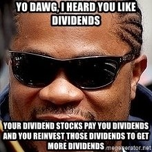 Xzibit - Yo Dawg, I heard you like Dividends your dividend stocks pay you dividends and you reinvest those dividends to get more dividends