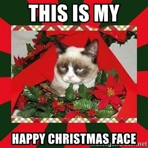 GRUMPY CAT ON CHRISTMAS - THIS IS MY HAPPY CHRISTMAS FACE
