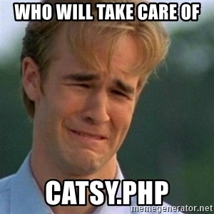 Crying Dawson - wHO WILL TAKE CARE OF cATSY.PHP