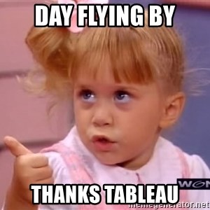 thumbs up - Day flying by thanks Tableau