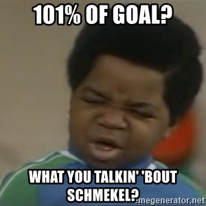 Gary Coleman II - 101% of goal? What you talkin' 'bout Schmekel?