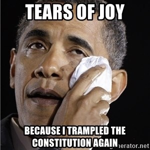 Obama Crying - tears of joy because i trampled the constitution again