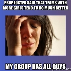 woman crying - prof foster said that teams with more girls tend to do much better my group has all guys