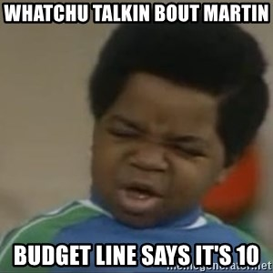 Gary Coleman II - whatchu talkin bout martin budget line says it's 10
