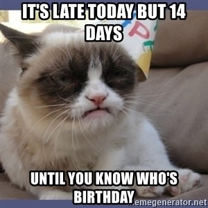 Birthday Grumpy Cat - it's late today but 14 days until you know who's birthday