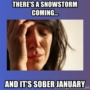 woman crying - There's a snowstorm coming... and it's sober January