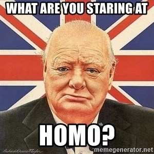 Winston Churchill - What are you staring at  homo?
