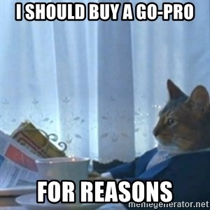 Sophisticated Cat Meme - I should buy a go-pro for reasons