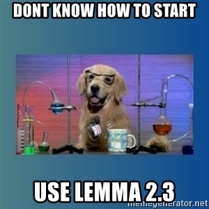 Chemistry Dog - Dont know how to start use Lemma 2.3
