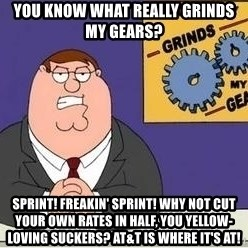 Grinds My Gears Peter Griffin - You know what really grinds my gears? Sprint! Freakin' Sprint! Why not cut your own rates in half, you yellow-loving suckers? AT&T is where it's at!