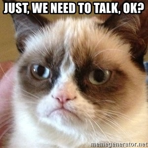 Angry Cat Meme - Just, we need to talk, ok?