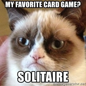 Angry Cat Meme - My favorite card game? Solitaire