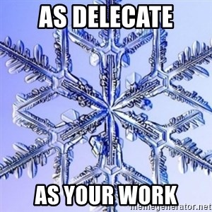 Special Snowflake meme - as delecate as your work