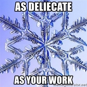 Special Snowflake meme - as deliecate as your work