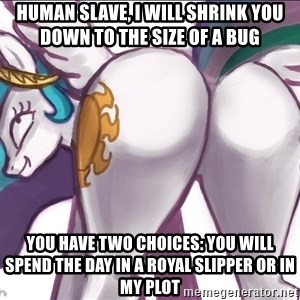 Princess Molestia Flank - human slave, i will shrink you down to the size of a bug You have two choices: you will spend the day in a royal slipper or in my plot