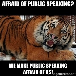 Sarcasm Tiger - Afraid of public speaking? We make public speaking afraid of us!