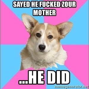 Critical feminist corgi - Sayed He Fucked Zour Mother ...He did