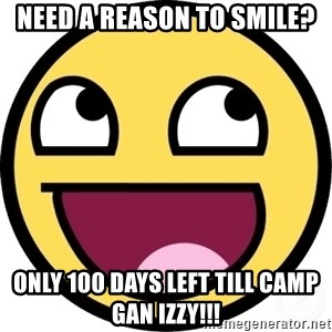 Awesome Smiley - need a reason to smile? only 100 days left till camp gan izzy!!!
