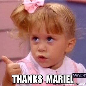 thumbs up -  Thanks  Mariel