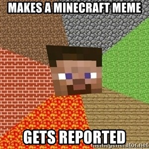 Minecraft Steve - makes a minecraft meme gets reported