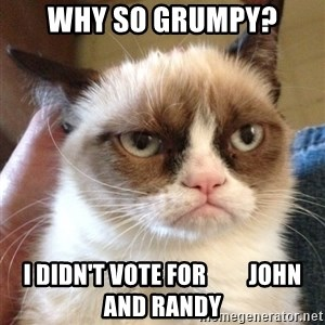 Grumpy Cat 2 - why so Grumpy? I didn't VOTE for         John and Randy