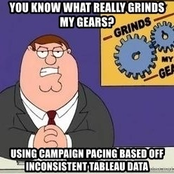 Grinds My Gears Peter Griffin - You know what really grinds my gears? Using campaign pacing based off inconsistent tableau data