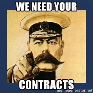 your country needs you - WE NEED YOUR CONTRACTS