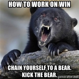 Insane Confession Bear - How to work on WIN Chain yourself to a Bear.  Kick the Bear.