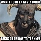 Skyrim Meme Generator - WANTS TO BE AN ADVENTURER TAKES AN ARROW TO THE KNEE