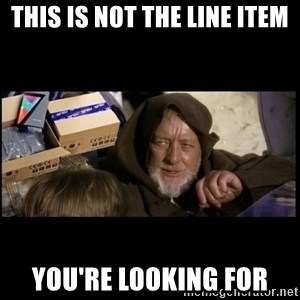 JEDI MINDTRICK - THIS IS NOT THE LINE ITEM YOU'RE LOOKING FOR