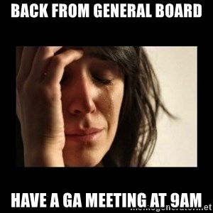 todays problem crying woman - back from general board have a ga meeting at 9am
