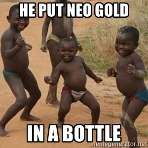 Dancing African Kid - he put neo gold  in a bottle