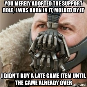 Bane - You merely adopted the support role, I was born in it, molded by it I didn't buy a late game item until the game already over