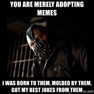 Bane Meme - You are merely adopting memes I was born to them, molded by them, got my best jokes from them