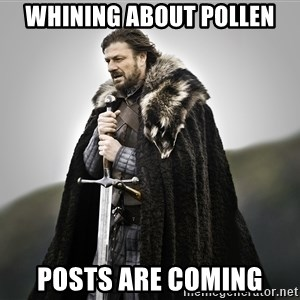 ned stark as the doctor - whining about pollen posts are coming
