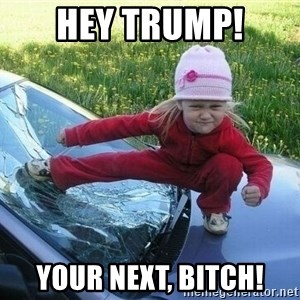 Angry Karate Girl - hey trump! your next, bitch!